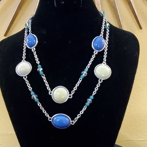 LOFT Blue Yellow Bead Necklace #607